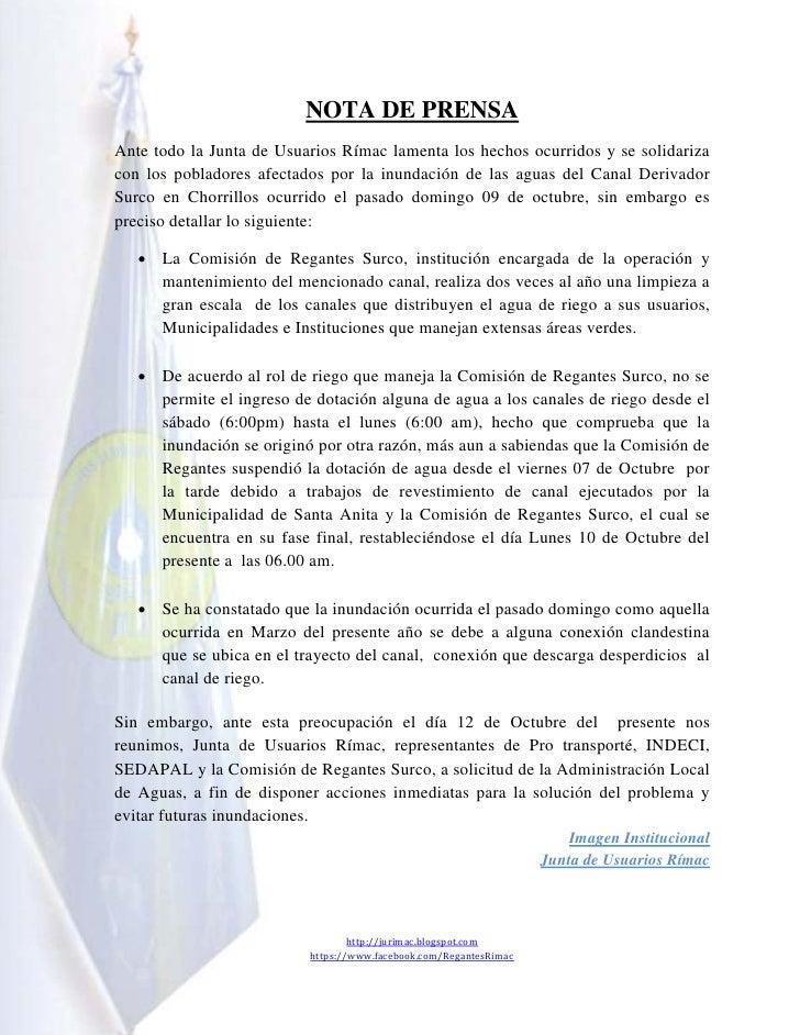 NOTA DE PRENSAAnte todo la Junta de Usuarios Rímac lamenta los hechos ocurridos y se solidarizacon los pobladores afectado...