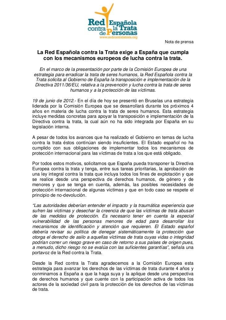 La Red Española contra la Trata exige a España que cumpla con los mecanismos europeos de lucha contra la trata