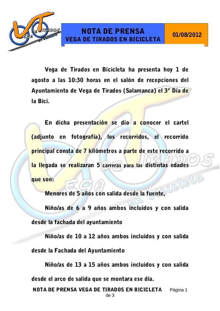 NOTA DE PRENSA                     01/08/2012             VEGA DE TIRADOS EN BICICLETA     Vega de Tirados en Bicicleta ha...