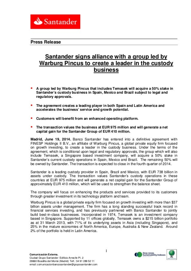 Santander signs alliance with a group led by Warburg Pincus to create a leader in the custody business