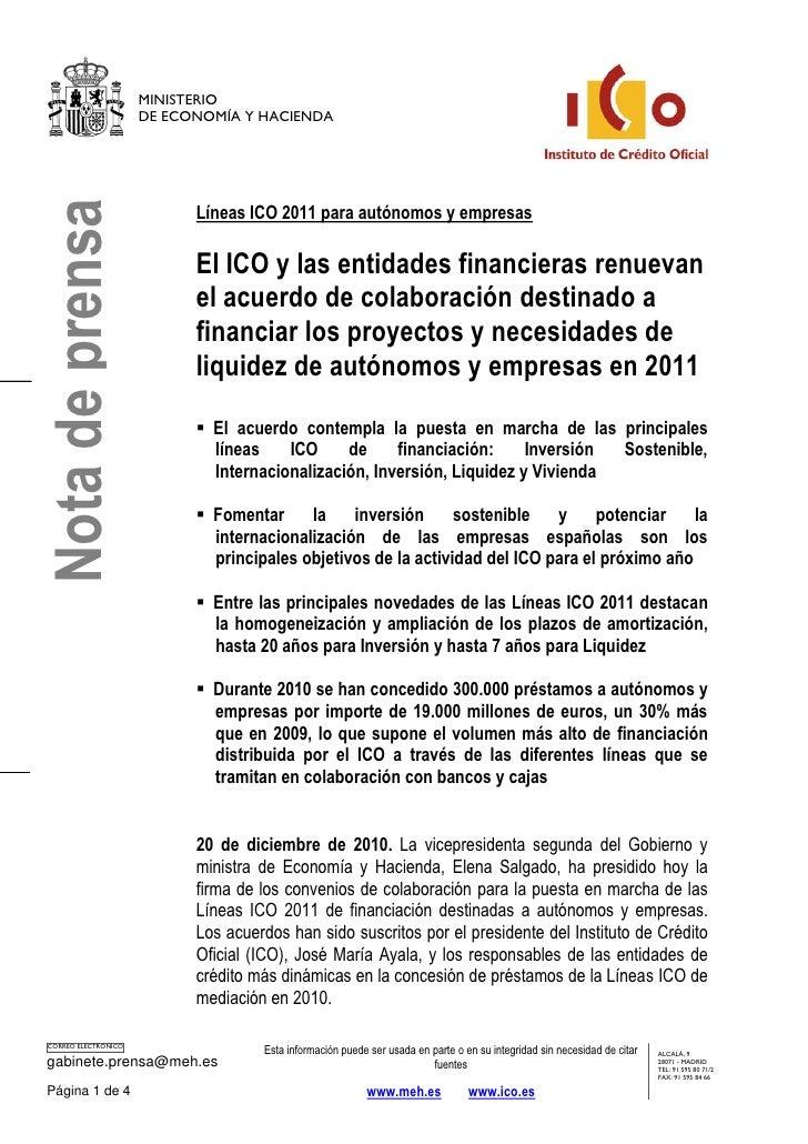 MINISTERIO                      DE ECONOMÍA Y HACIENDANota de prensa                            Líneas ICO 2011 para autón...