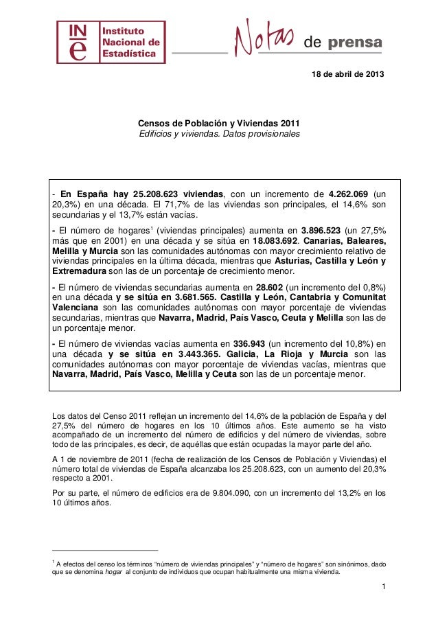 18 de abril de 20131Censos de Población y Viviendas 2011Edificios y viviendas. Datos provisionales- En España hay 25.208.6...