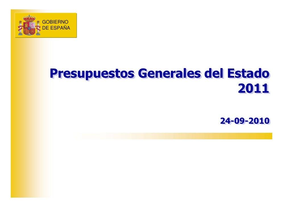 Nota de prensa del mª de economía presupuestos generales del estado 2011