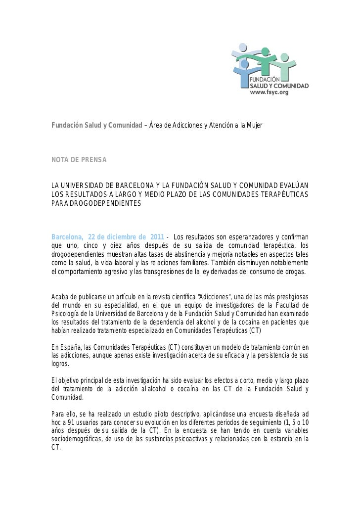 Fundación Salud y Comunidad – Área de Adicciones y Atención a la MujerNOTA DE PRENSALA UNIVERSIDAD DE BARCELONA Y LA FUNDA...