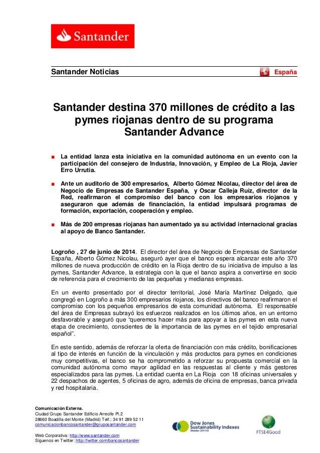 Santander destina 370 millones de crédito a las pymes riojanas dentro de su programa Santander Advance