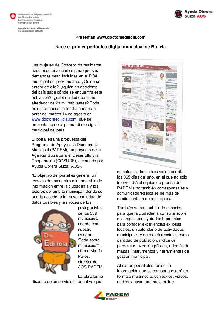 Presentan www.doctoraedilicia.com             Nace el primer periódico digital municipal de BoliviaLas mujeres de Concepci...