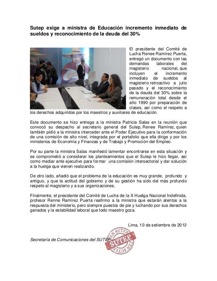 Sutep exige a ministra de Educación incremento inmediato desueldos y reconocimiento de la deuda del 30%                   ...