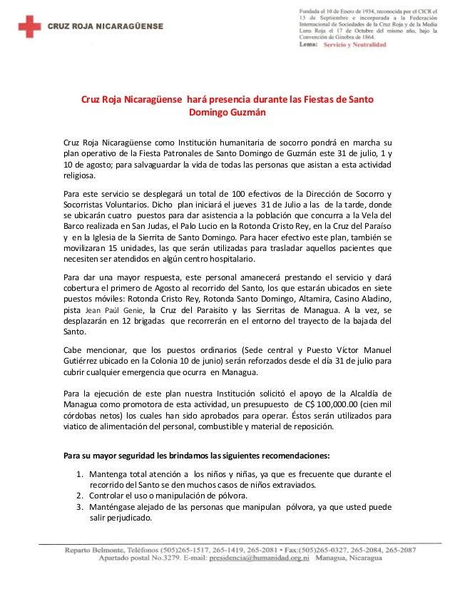 Cruz Roja Nicaragüense hará presencia durante las Fiestas de Santo Domingo Guzmán Cruz Roja Nicaragüense como Institución ...