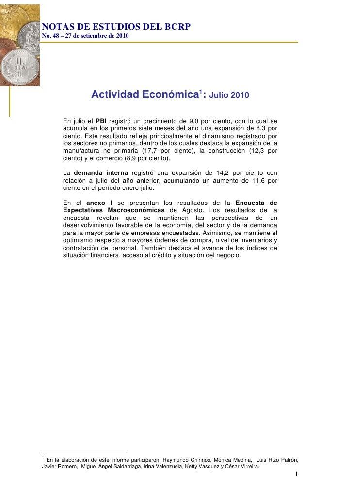 Nota estudios bcr   actividad economica - julio 2010