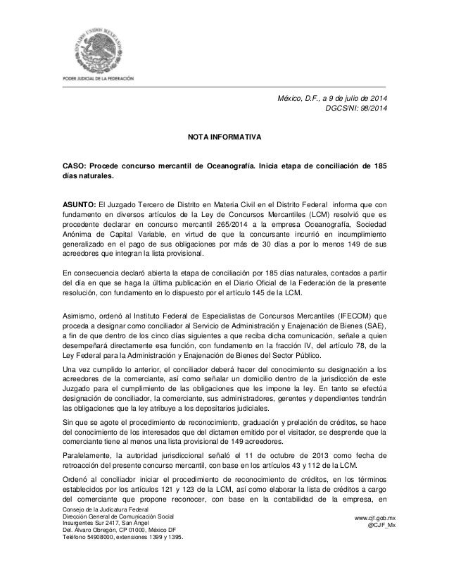 Consejo de la Judicatura Federal Dirección General de Comunicación Social Insurgentes Sur 2417, San Ángel Del. Álvaro Obre...