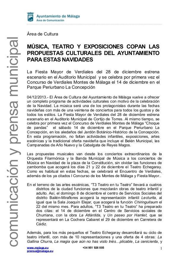 Programa de Navidad 2013 del Área de Cultura de Málaga