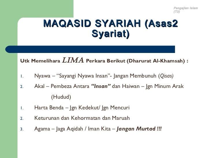 Pengajian Islam                                                              (T3)        MAQASID SYARIAH (Asas2           ...
