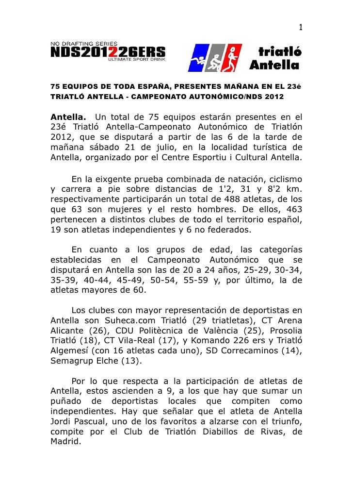 175 EQUIPOS DE TODA ESPAÑA, PRESENTES MAÑANA EN EL 23éTRIATLÓ ANTELLA - CAMPEONATO AUTONÓMICO/NDS 2012Antella. Un total de...