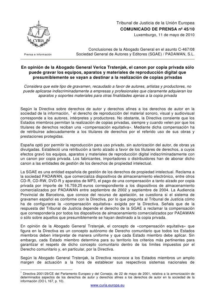Tribunal de Justicia de la Unión Europea                                                                 COMUNICADO DE PRE...