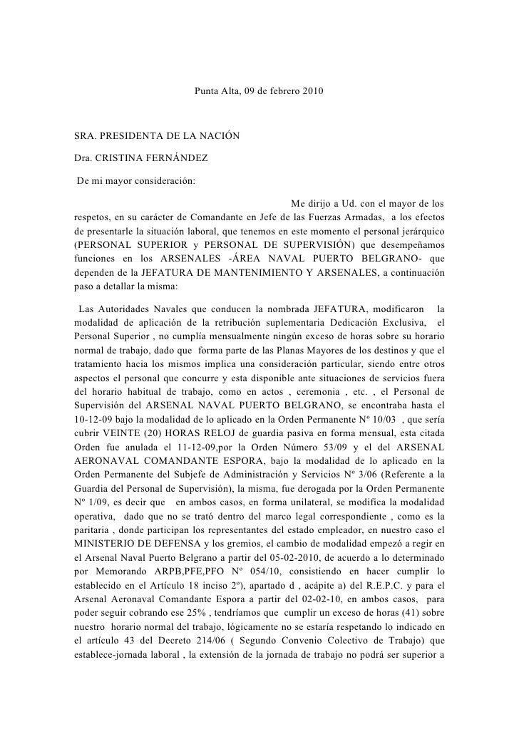 Punta Alta, 09 de febrero 2010    SRA. PRESIDENTA DE LA NACIÓN  Dra. CRISTINA FERNÁNDEZ  De mi mayor consideración:       ...