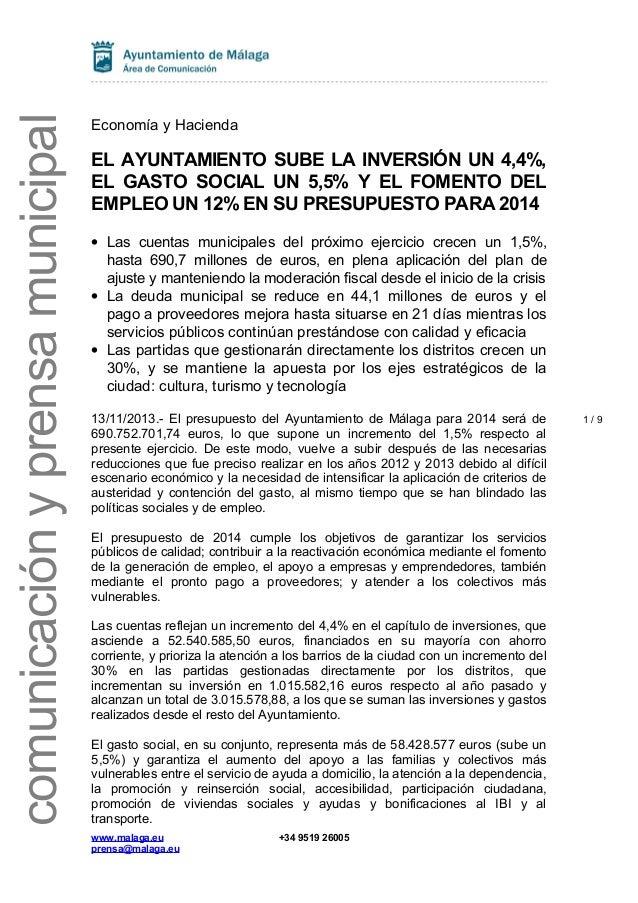Presupuestos 2014 - Nota de prensa - Ayuntamiento de Málaga