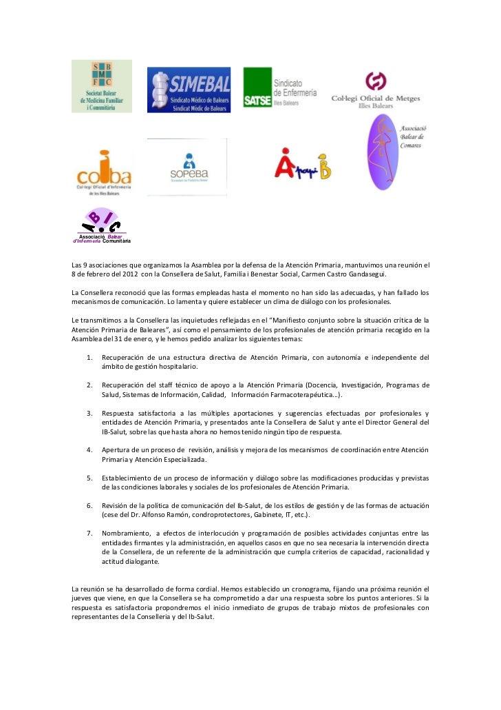 Associació Baleard'Infermeria ComunitàriaLas 9 asociaciones que organizamos la Asamblea por la defensa de la Atención Prim...