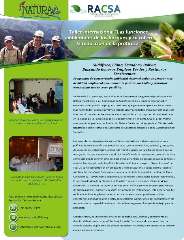 Sudáfrica,China,EcuadoryBolivia BuscandoGenerarEmpleosVerdesyRestaurar Ecosistemas Programasdeconservaciónambientaltienene...