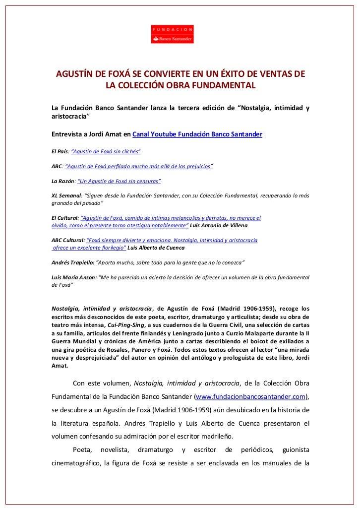 """La Fundación Banco Santander lanza la tercera edición de """"Nostalgia, intimidad y aristocracia"""""""