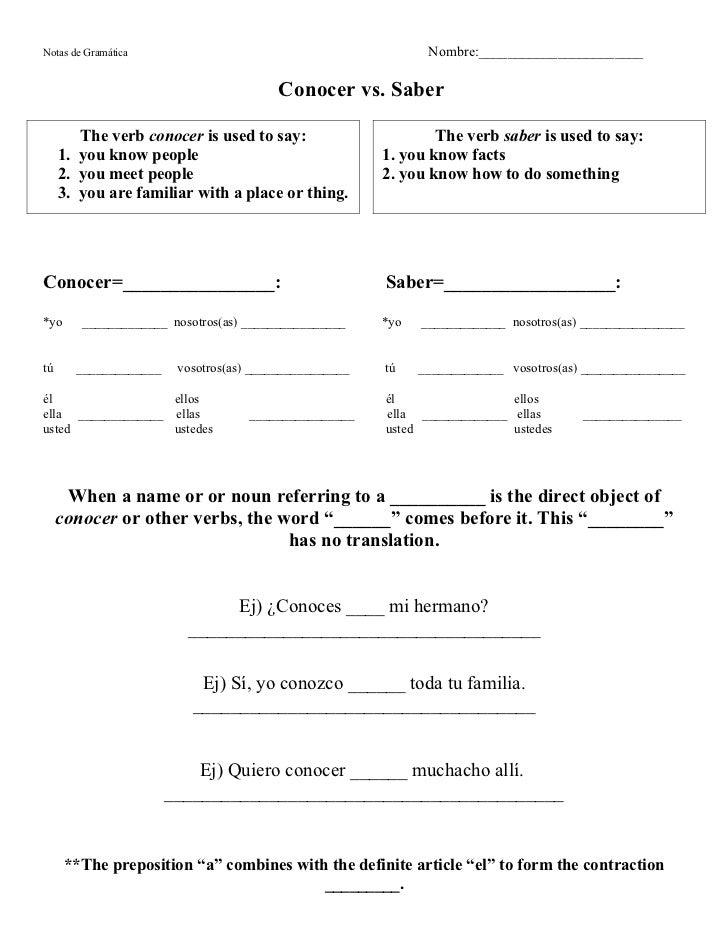 Saber Vs Conocer Worksheet 008 - Saber Vs Conocer Worksheet