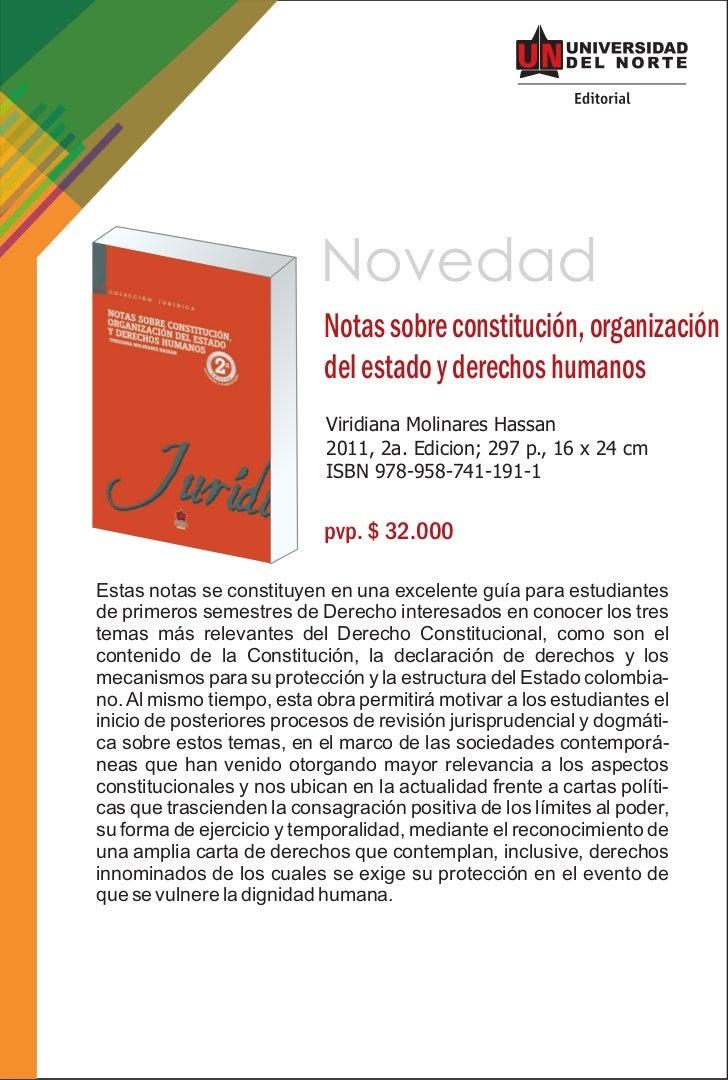 Novedad                           Notas sobre constitución, organización                           del estado y derechos h...