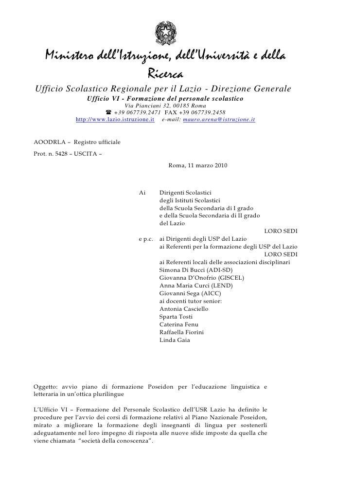 Ministero dell'Istruzione, dell'Università e della                          Ricerca Ufficio Scolastico Regionale per il La...