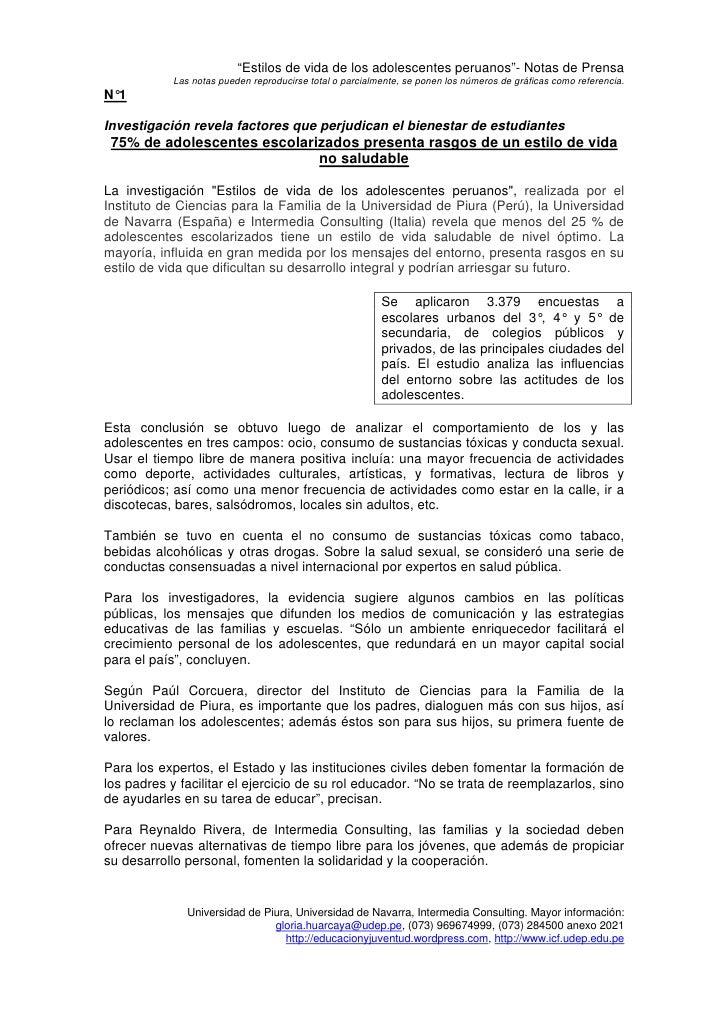 """""""Estilos de vida de los adolescentes peruanos""""- Notas de Prensa             Las notas pueden reproducirse total o parcialm..."""