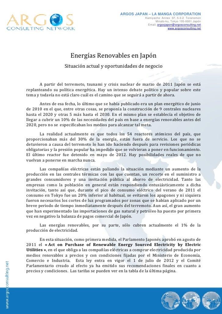 Nota sectorial energias renovables en japón