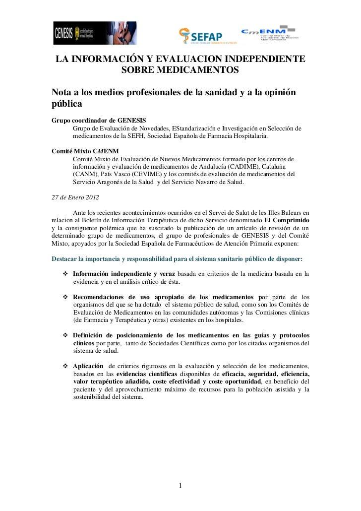Información y Evaluación e independiente de Medicamentos
