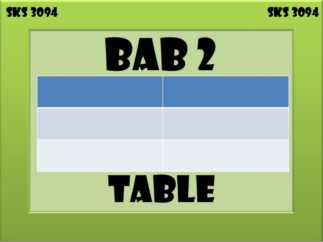 SKS 3094           SKS 3094           BAB 2           TABLE