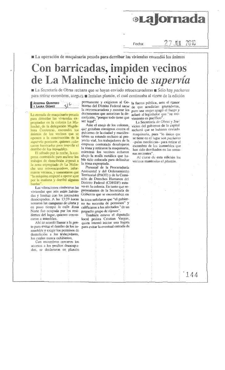 Notas relevantes de prensa del día martes 27 de julio de 2010