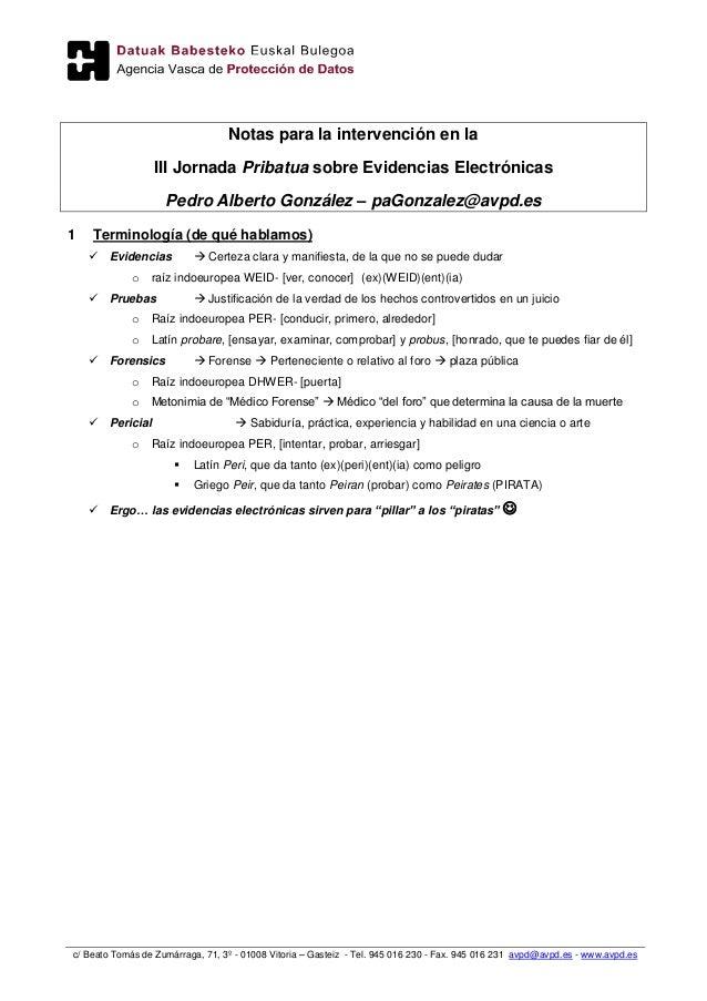 """""""Evidencias Electrónicas"""" - Notas de mi intervención en la III Jornada Pribatua"""