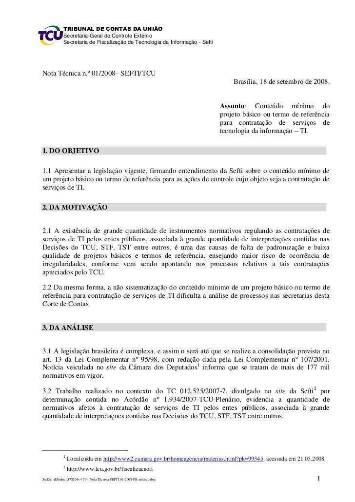 Nota técnica 01 2009 – sefti-tcu - conteúdo mínimo do projeto