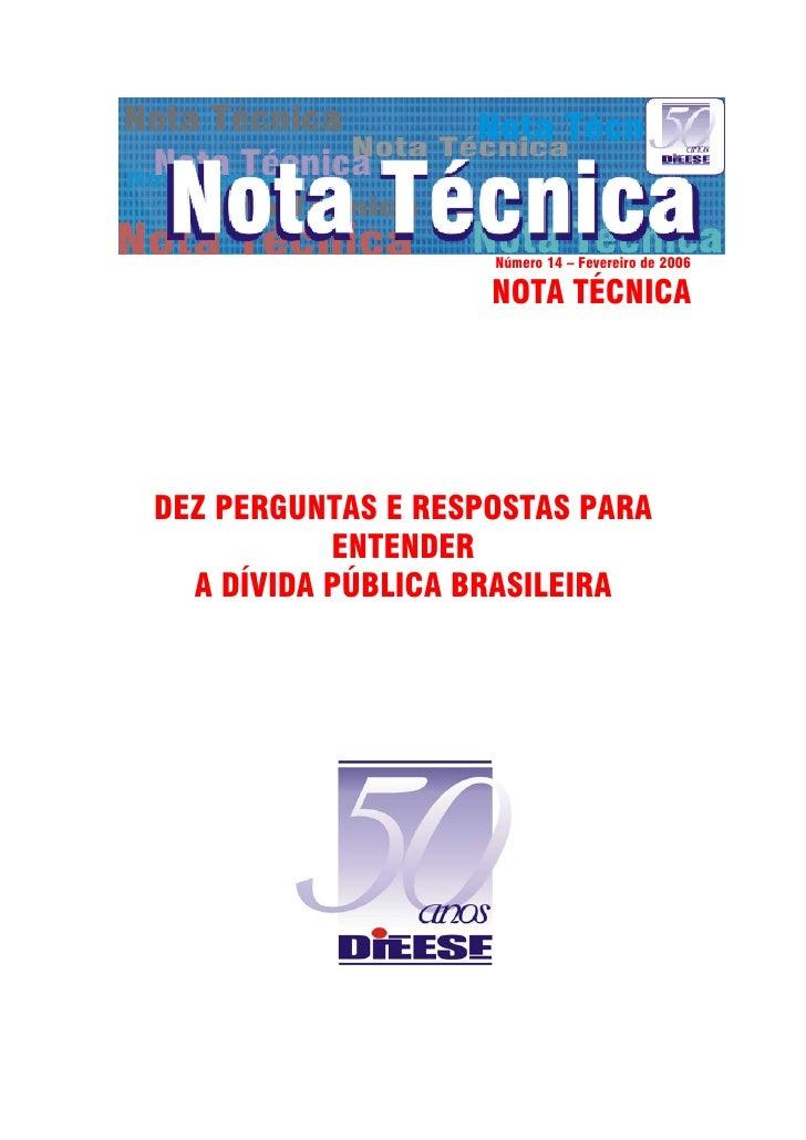 Nota técnica Dívida Pública - DIEESE