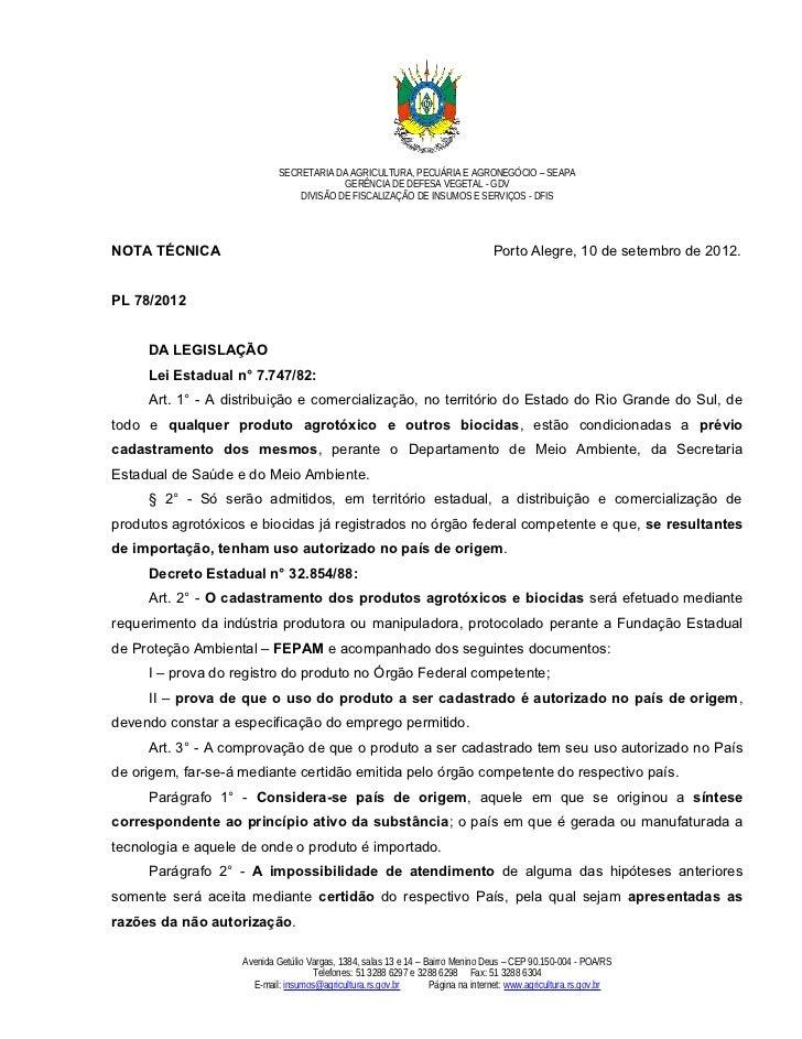Nota tecnica seapa rs pl 78 2012