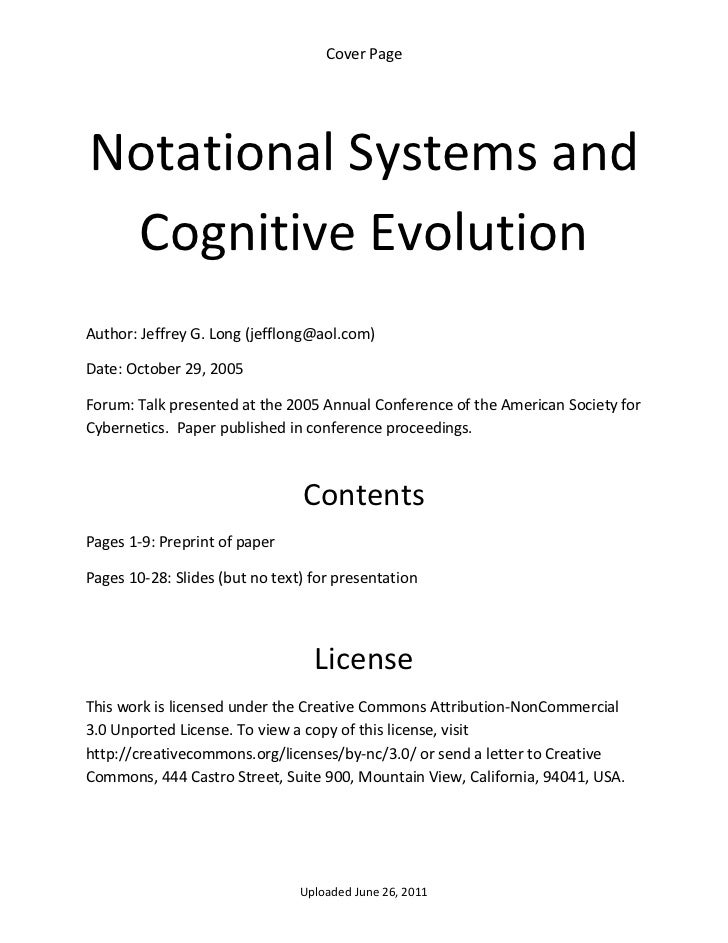 Notational systems and cognitive evolution