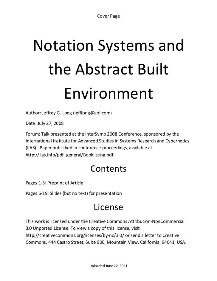 Cover Page      Notation Systems and       the Abstract Built         Environment Author: Jeffrey G. Long (jefflong@aol.co...