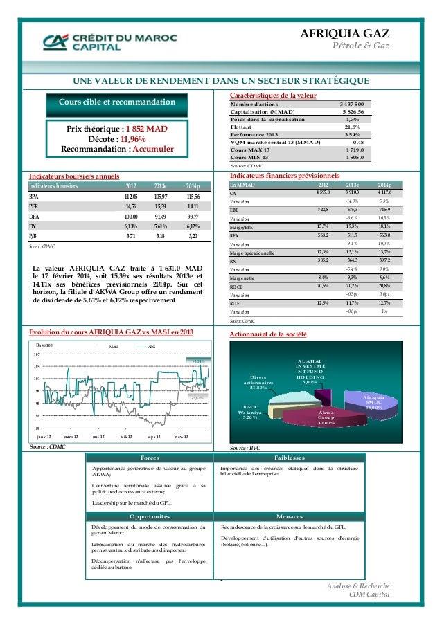 AFRIQUIA GAZ Pétrole & Gaz  1 Analyse & Recherche CDM Capital                              ...