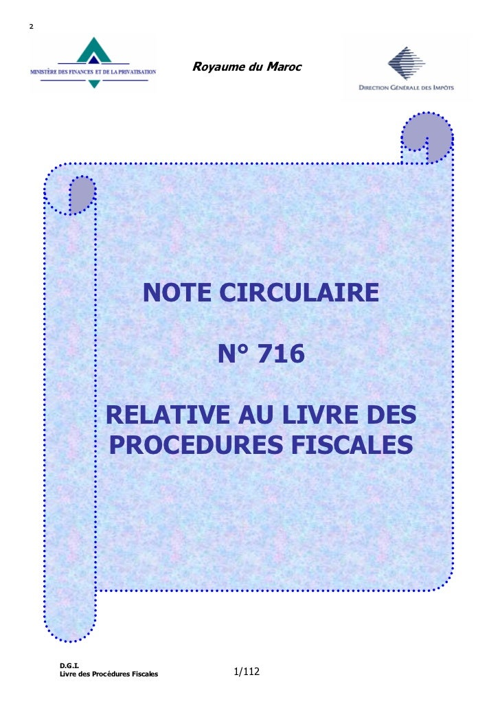²                                       Royaume du Maroc                                 NOTE CIRCULAIRE                  ...