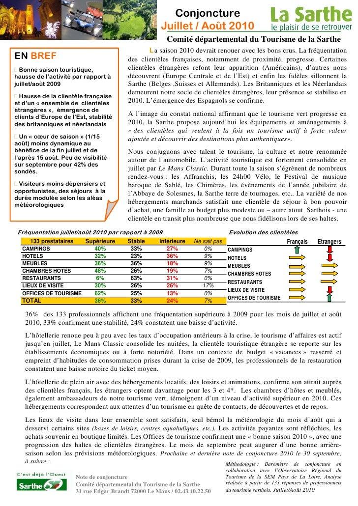Note de conjoncture du Tourisme en Sarthe - Août 2010