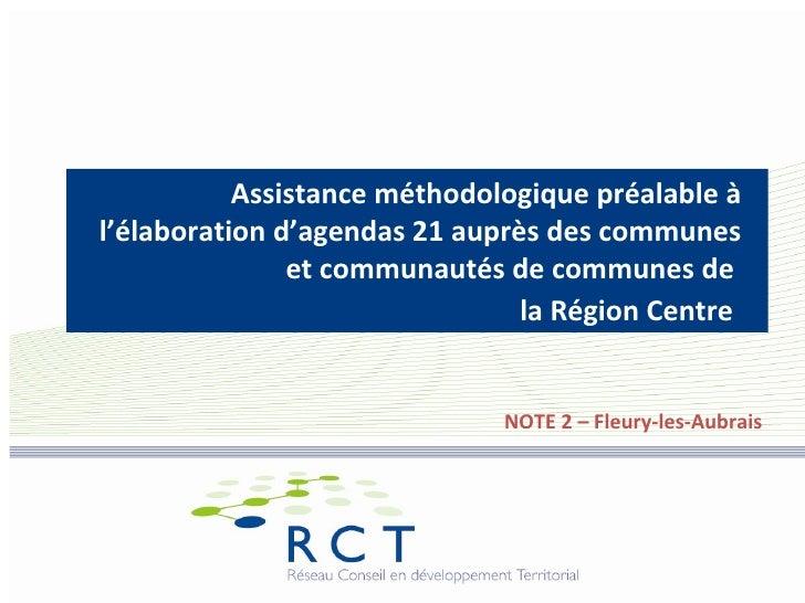 Assistance méthodologique préalable à l'élaboration d'agendas 21 auprès des communes                et communautés de comm...