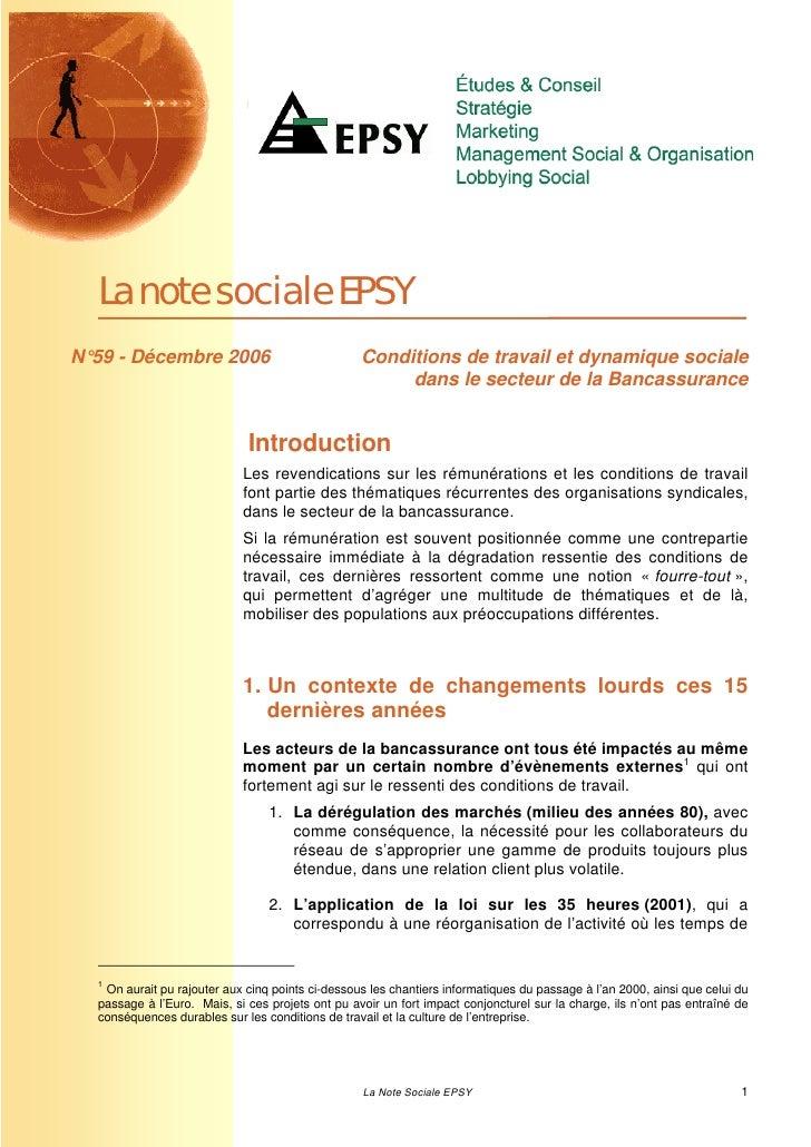 La note sociale EPSYN°59 - Décembre 2006                              Conditions de travail et dynamique sociale          ...