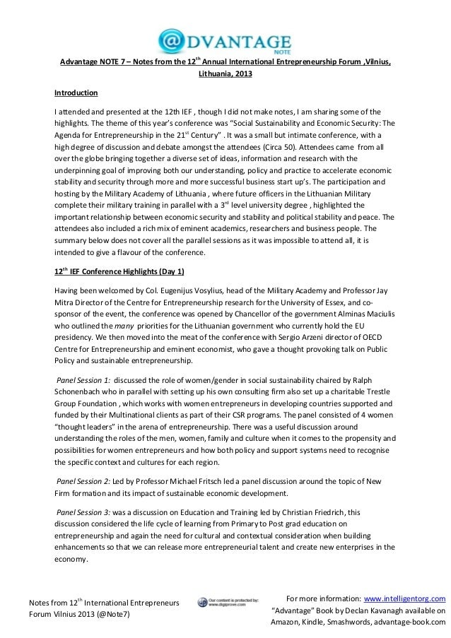 Summary of 12 th International Entrepreneurship Conference Vilnius 2013