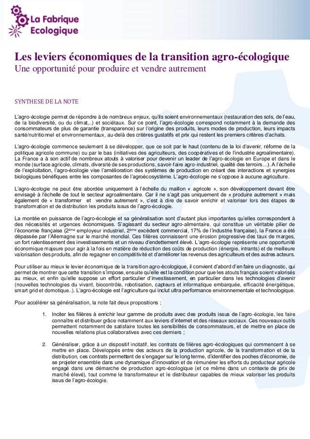 1  Les leviers économiques de la transition agro-écologique  Une opportunité pour produire et vendre autrement  SYNTHESE D...