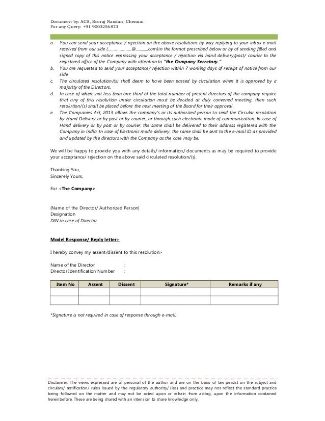 Note And Format On Circular Resolution Under The Companies