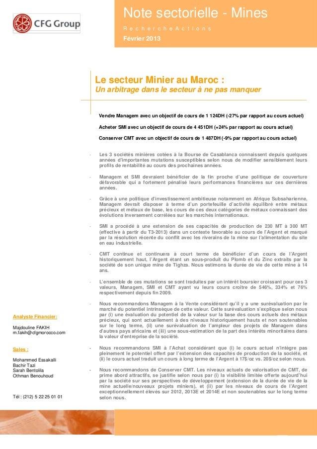 1Note sectorielle - Mines - février 2013Note sectorielle - MinesR e c h e r c h e A c t i o n sFévrier 2013Le secteur Mini...