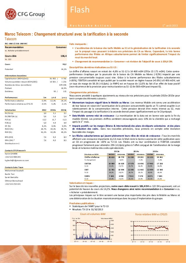 1 Maroc Telecom : Changement structurel avec la tarification à la seconde Telecom 05 juin 2013 Flash R e c h e r c h e A c...