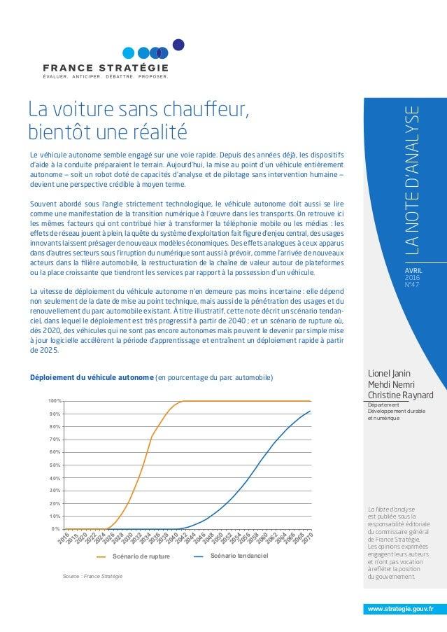 www.strategie.gouv.fr AVRIL 2016 N°47 La voiture sans chauffeur, bientôt une réalité LANOTED'ANALYSE La Note d'analyse est...
