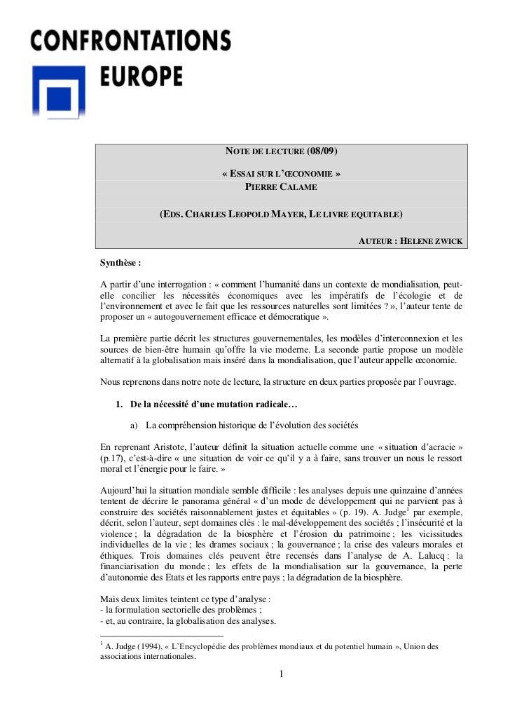 NOTE DE LECTURE (08/09)                                  « ESSAI SUR L'ŒCONOMIE »                                       PI...