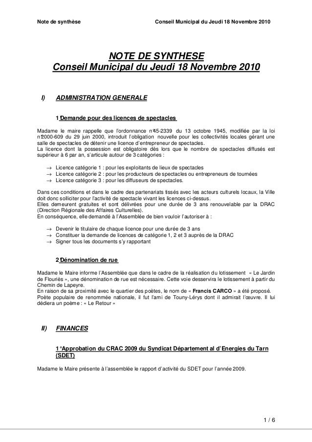 Note de synthèse Conseil Municipal du Jeudi 18 Novembre 2010 1 / 6 NOTE DE SYNTHESE Conseil Municipal du Jeudi 18 Novembre...